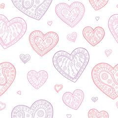 Heart graphic doodle pink violet color seamless pattern illustration vector