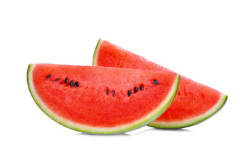 two fresh sliced red watermelon isolated on white background