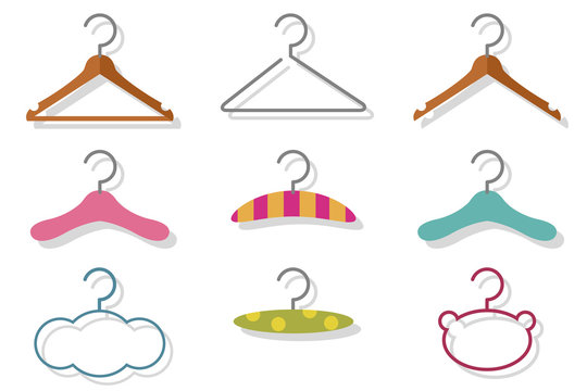Fashion and baby clothes hanger vector cartoon flat icon set isolated on a white background.