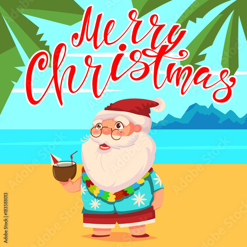 Merry Christmas In Hawaiian.Summer Santa Claus On The Beach With Palm Trees In Shorts