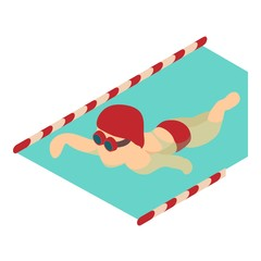 Swimmer icon, isometric 3d style