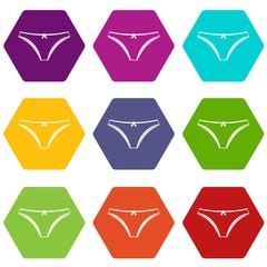Panties icon set color hexahedron