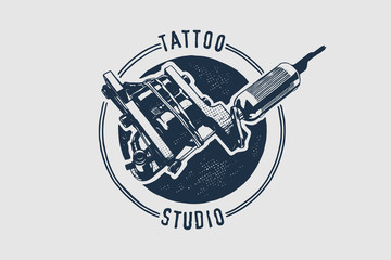 Vector tattoo studio logo template. Cool retro styled vector emblem.
