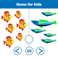 Education logic game for preschool kids. Choose the correct answer. More, less or equal Vector illustration. Theme mermaid sea, ocean, fish