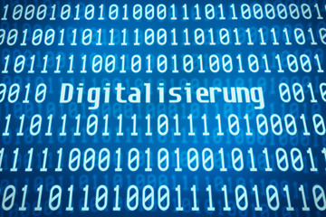 Binärcode mit dem Wort Digitalisierung im Zentrum
