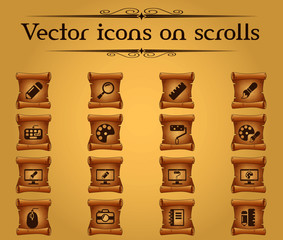 design vector icons on scrolls for your creative ideas