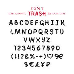 Шрифт Трэш, нарисованный кистью, чёрной краской, гудроном, иллюстрация, вектор