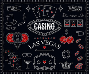Casino theme. Decorative design elements on chalkboard. Gambling symbols. Vintage vector illustration