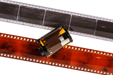 35mm photo film. Old photo film negative isolated on white. Photographic film strip isolated on white background. Black and white color film