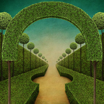 Conceptual fantasy green background with arch and Grand entrance to the Park