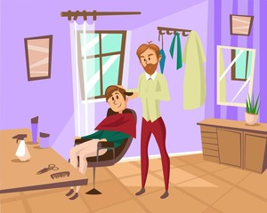 Male hairdresser cutting hair of young man with hair clippers in barbershop, hair stylist in hairdressing salon cartoon vector Illustration