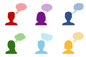Set of silhouettes of people with speech bubbles, vector illustration