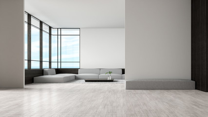 Modern interior living room wood floor sofa set sea view summer 3d rendering. waiting area empty wall.