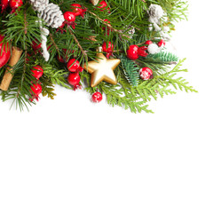 Christmas Background with Xmas Decoration, Xmas Tree Twig, Golden Glitter Star on White. New Year Background with Copy Space