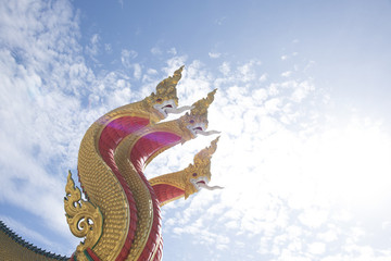 Three head naka statue At Watmuang, Ang Thong