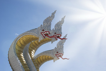 Three head naka statue At Watmuang, Ang Thong