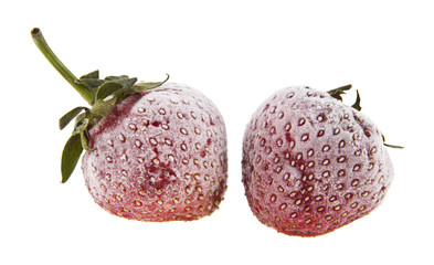 frozen strawberries isolated on white background