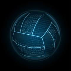 Vector image of a volleyball ball made of glowing lines, points and polygons