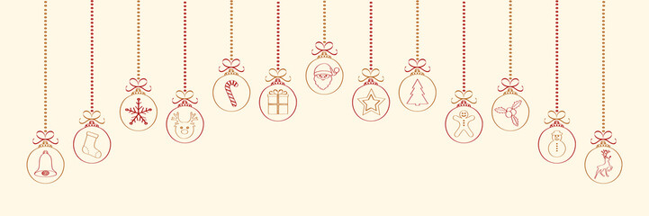 Christmas decoration with hand drawn elements. Panoramic banner. Vector.