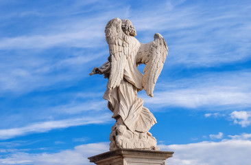 Angel in the sky with clouds.  A 17th century baroque masterpiece at the top of Sant'Angelo Bridge in the center of Rome