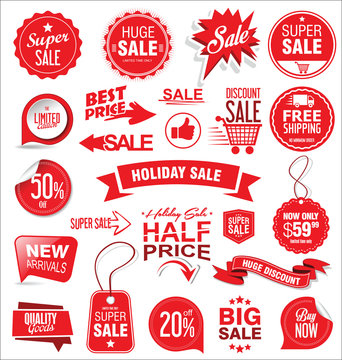 Super sale badges and labels vector collection