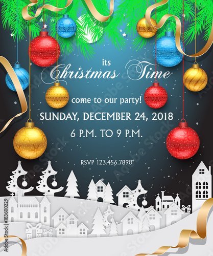 Background Christmas Tree Decor Card Party Design With Snow