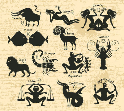 Vector set of twelve signs of the zodiac with inscriptions and symbols on a background of the ancient manuscript. Icons for astrology horoscopes