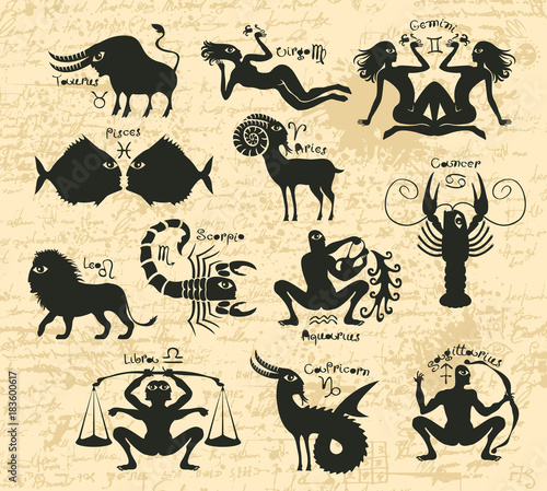 Vector Set Of Twelve Signs Of The Zodiac With Inscriptions And