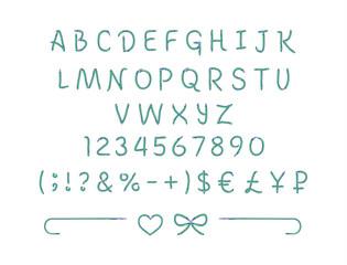 Шрифт лайт, нарисованный зеленой и голубой Карамелью на белом фоне, иллюстрация, вектор