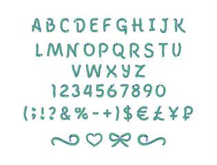Шрифт нормальный, нарисованный зеленой и голубой Карамелью на белом фоне, иллюстрация, вектор