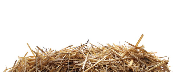 Straw pile isolated on white background, clipping path