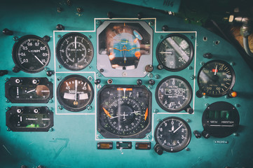 Control panel in a old ussr plane cockpit