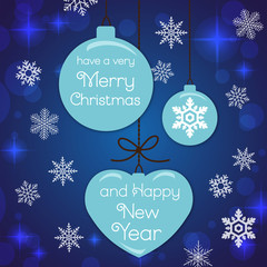 Tiffany Blue Merry Christmas and Happy New Year fashionable banner, pattern, card & background vector