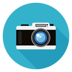 Camera icon. Illustration in flat style. Round icon with long shadow.