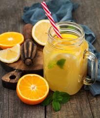 Jar with lemonade