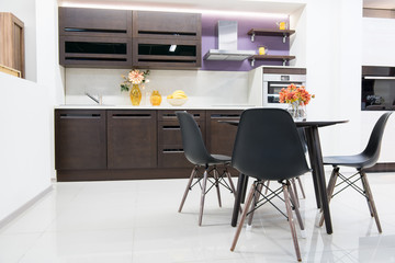 cozy modern kitchen interior with furniture