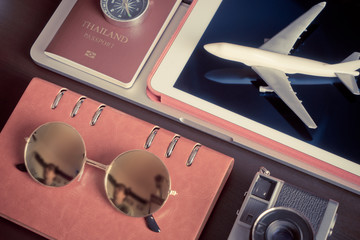 Hipster blogger travel equipments objects top view