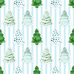 Seamless Pattern with Hand Drawn Watercolor Christmas Tree on Stripped Background for Your Holidays Design. Realistic Paper Applique, Cutout. Good for Wrapping, Wallpaper, Fabric, Banners, Posters.