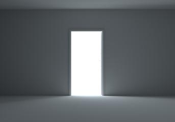 An open door with light streaming into dark room