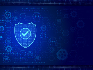 Digital technology protection concept. Futuristic hi-tech board on the blue background. Cyber data security. Network guard illustration.