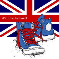 Hand drawn sneakers on background. Print of United Kingdom flag. Hand drawn vector illustration