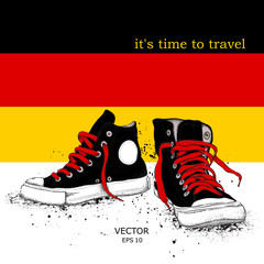Hand drawn sneakers on background. Print of Germany flag. hand drawn vector illustration