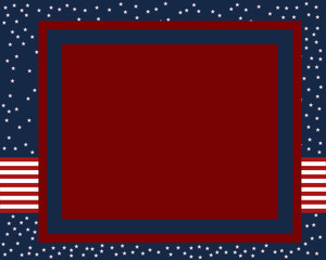 Blue and red USA color stars and stripes page border frame design