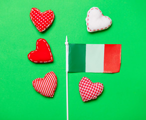 Valentines Day heart shapes and flag of Italy