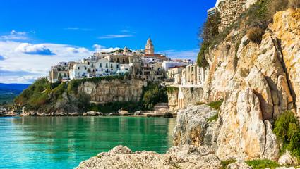 Beautiful coastal town Vieste in Puglia. Italian summer holidays