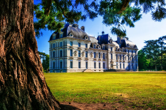 Castles of Loire valley - elegant Cheverny with beautiful park. France