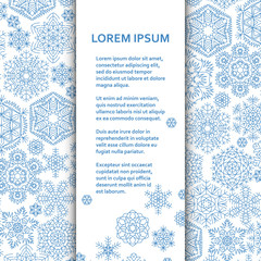Flat poster or banner template with snowflakes. Vector illustration.