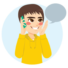 Young teenager boy talking happy with his phone and blank speech balloon