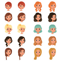 Set of different girl's hair styles and colors: black, blue, blonde, red, brown. Female teens with big shiny eyes. Human head. Flat vector design