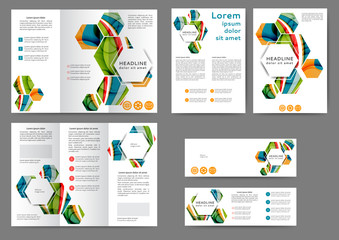 Set of color abstract brochure template